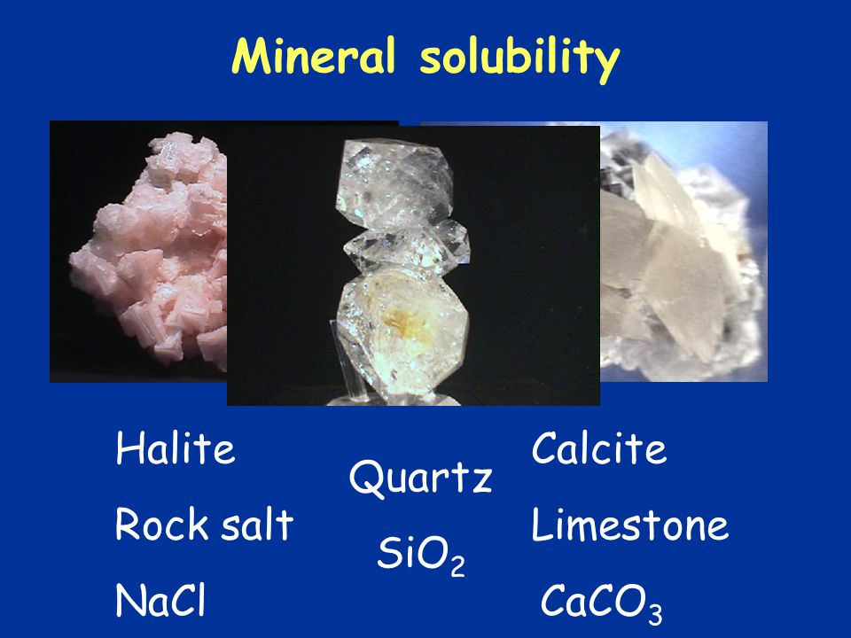 Mineral solubility Halite Calcite Rock salt Limestone Quartz SiO2