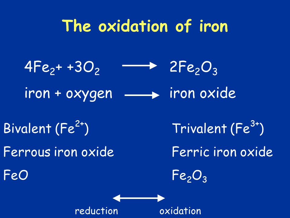 The oxidation of iron 4Fe2+ +3O2 2Fe2O3 iron + oxygen iron oxide