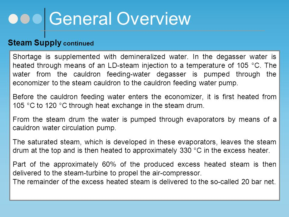 General Overview Steam Supply continued
