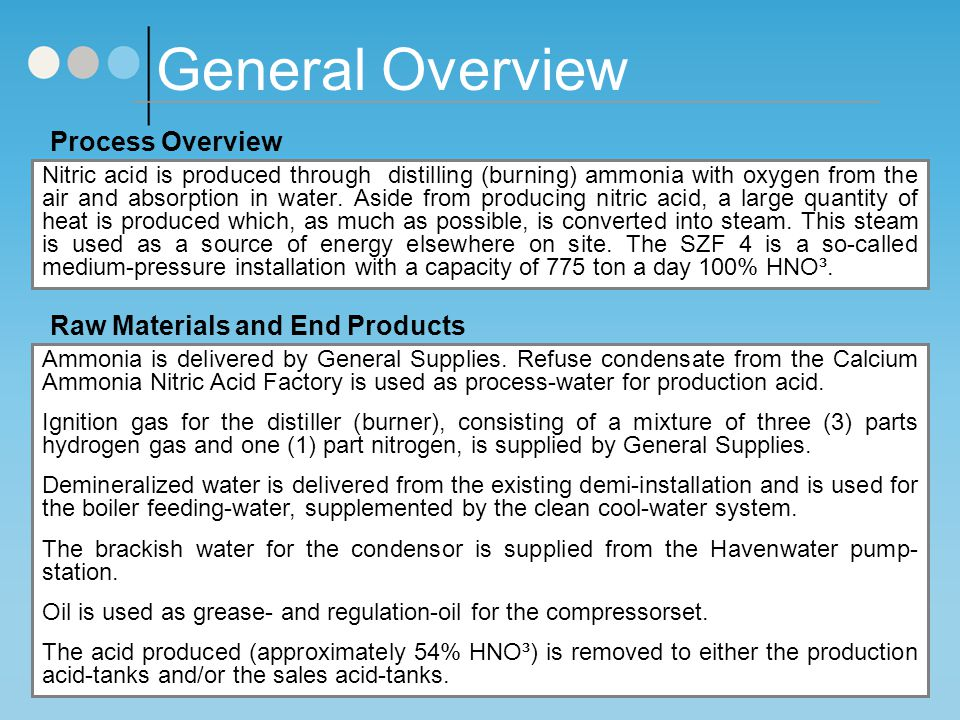 General Overview Process Overview Raw Materials and End Products