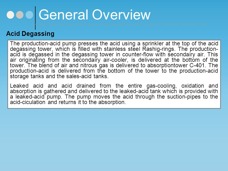 General Overview Acid Degassing