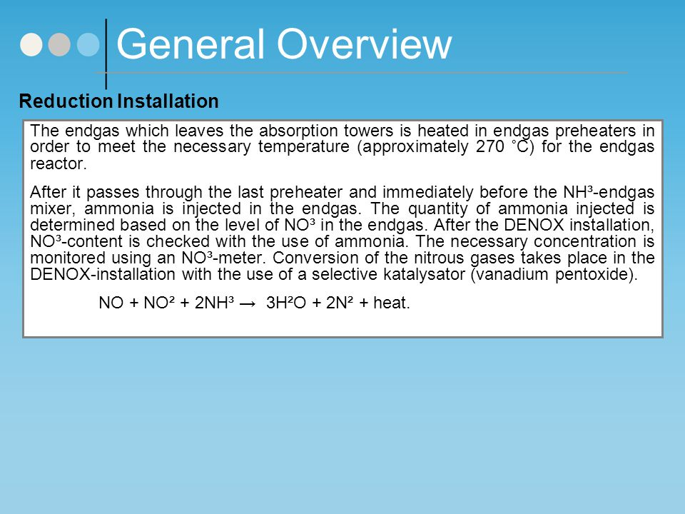 General Overview Reduction Installation