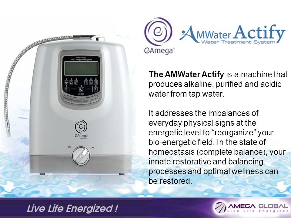 The AMWater Actify is a machine that produces alkaline, purified and acidic water from tap water.