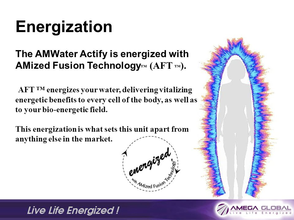 Energization The AMWater Actify is energized with AMized Fusion Technology™ (AFT ™).