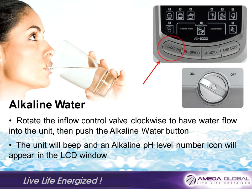 Alkaline Water Rotate the inflow control valve clockwise to have water flow into the unit, then push the Alkaline Water button.