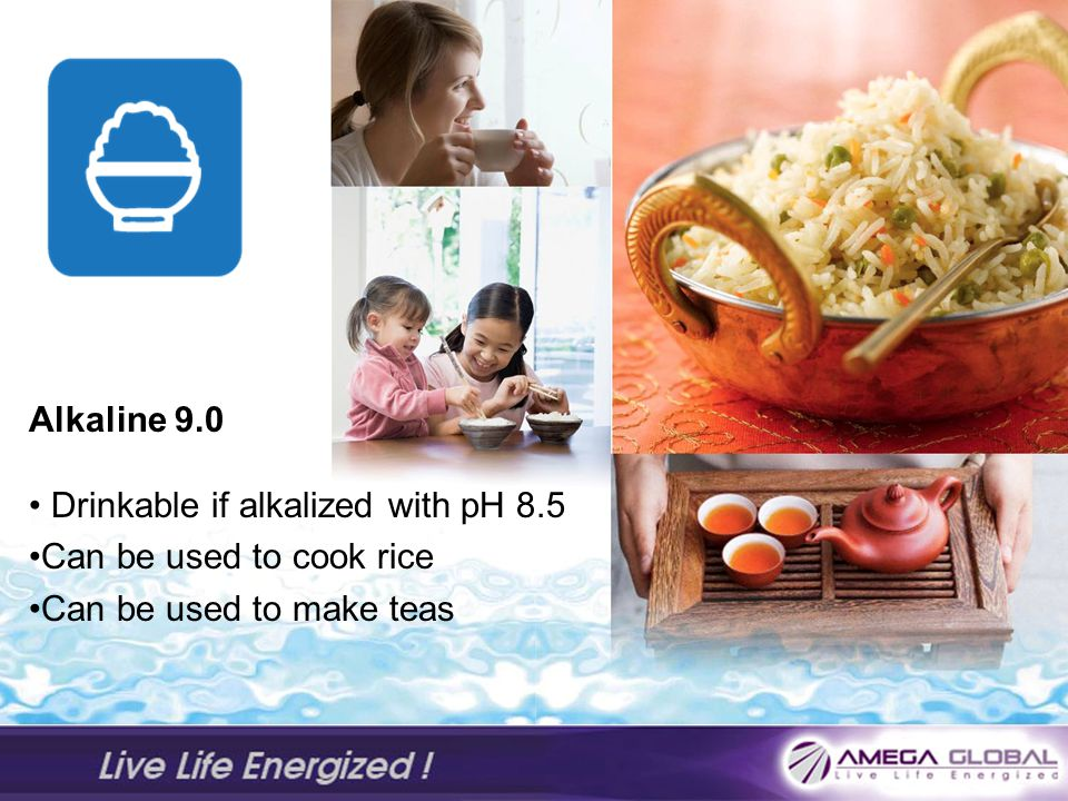 Alkaline 9.0 Drinkable if alkalized with pH 8.5 Can be used to cook rice Can be used to make teas