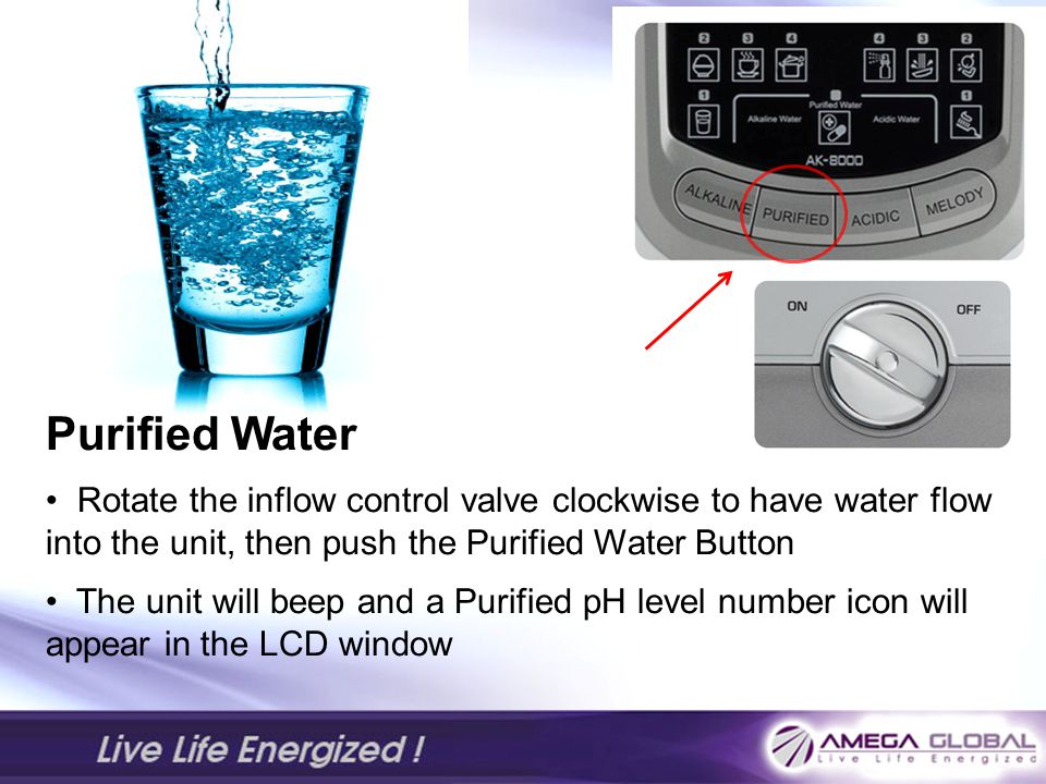 Purified Water Rotate the inflow control valve clockwise to have water flow into the unit, then push the Purified Water Button.