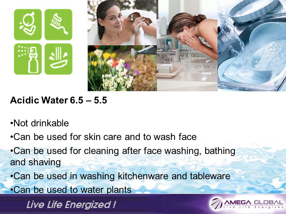 Acidic Water 6.5 – 5.5 Not drinkable. Can be used for skin care and to wash face. Can be used for cleaning after face washing, bathing and shaving.