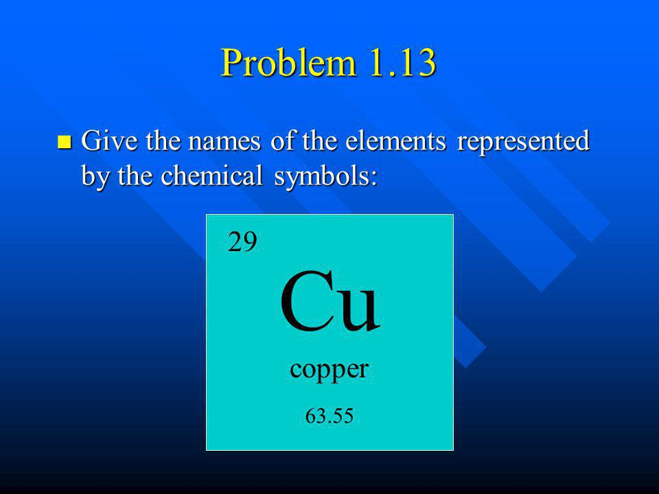 Problem 1.13 Give the names of the elements represented by the chemical symbols: copper 29 63.55 Cu
