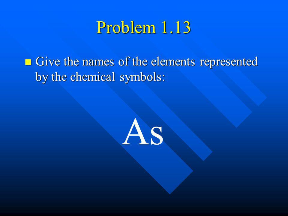 Problem 1.13 Give the names of the elements represented by the chemical symbols: As
