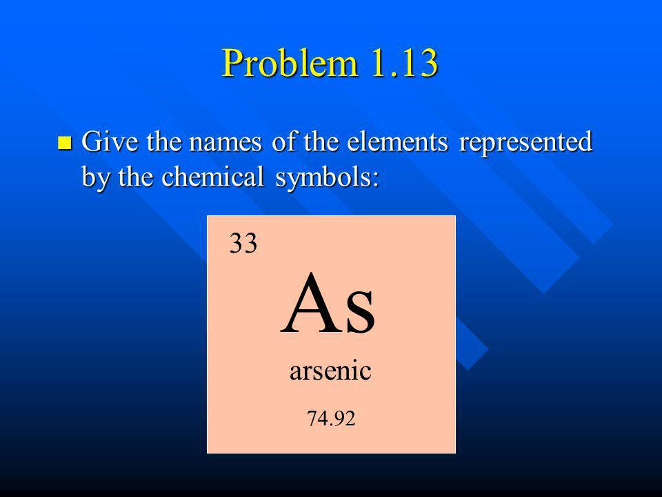 Problem 1.13 Give the names of the elements represented by the chemical symbols: 33. As. arsenic.