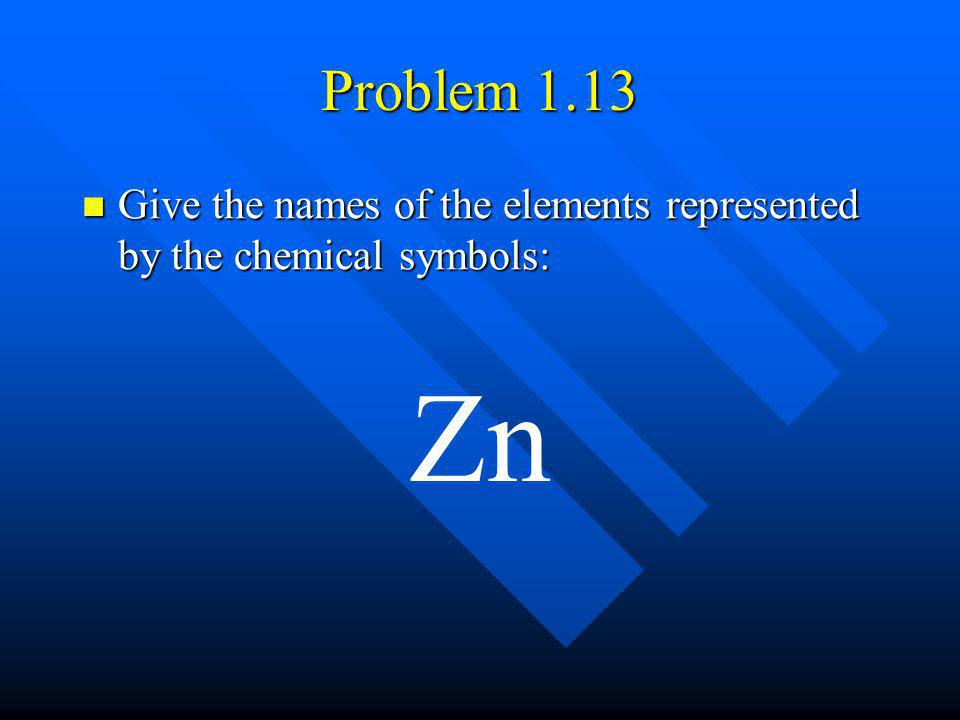 Problem 1.13 Give the names of the elements represented by the chemical symbols: Zn