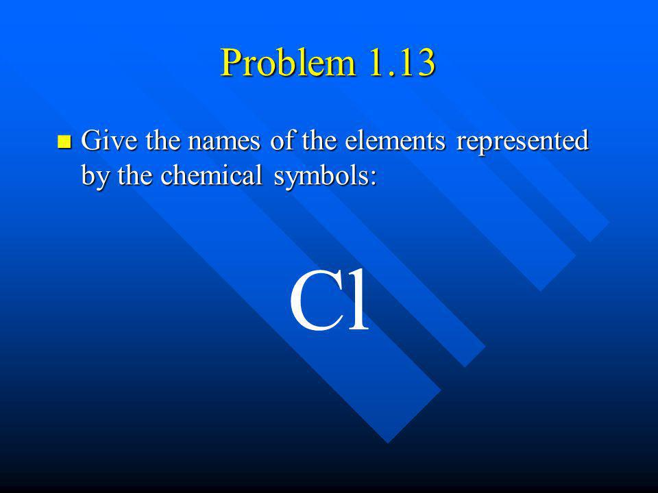 Problem 1.13 Give the names of the elements represented by the chemical symbols: Cl