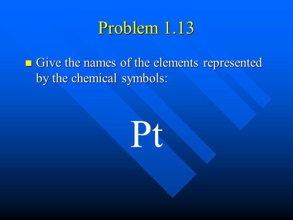 Problem 1.13 Give the names of the elements represented by the chemical symbols: Pt