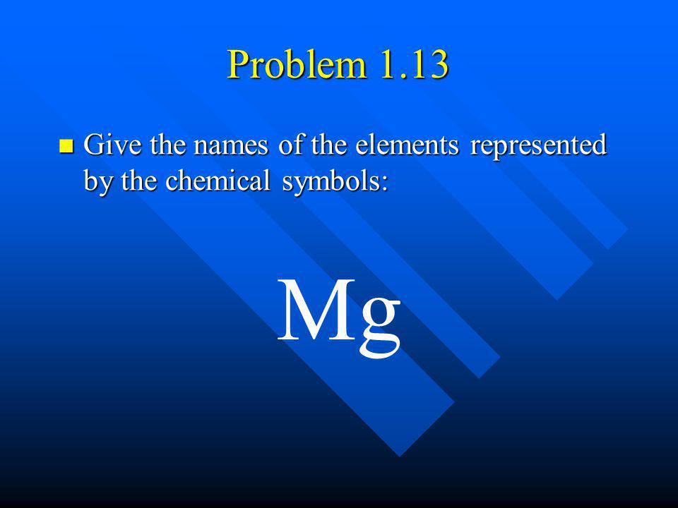 Problem 1.13 Give the names of the elements represented by the chemical symbols: Mg