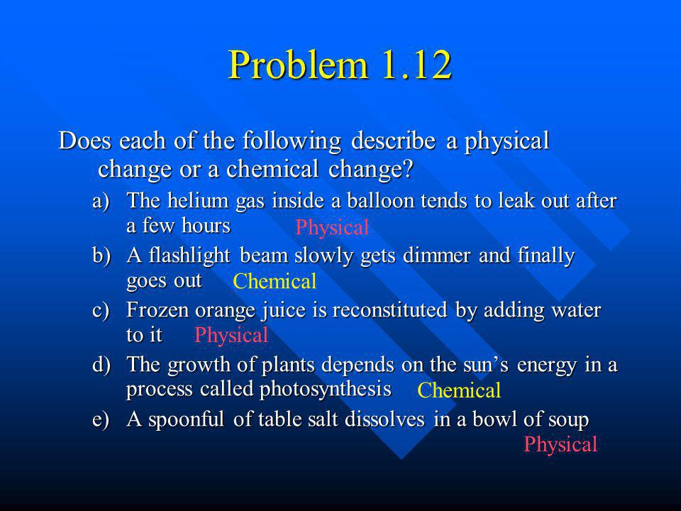 Problem 1.12 Does each of the following describe a physical change or a chemical change