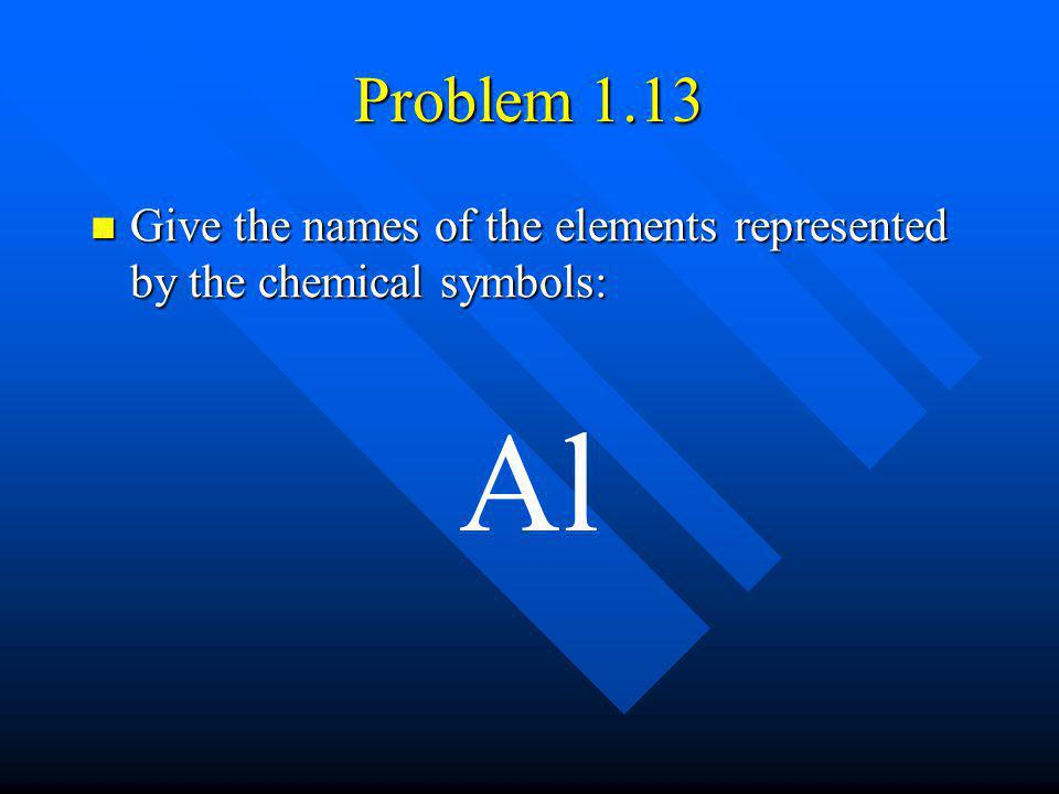 Problem 1.13 Give the names of the elements represented by the chemical symbols: Al