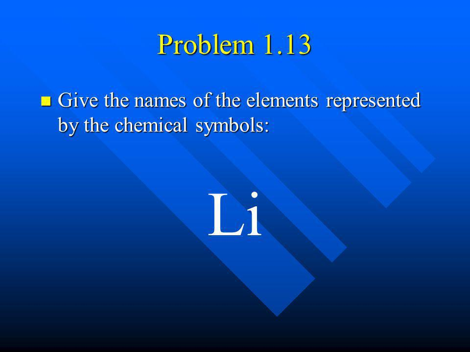 Problem 1.13 Give the names of the elements represented by the chemical symbols: Li