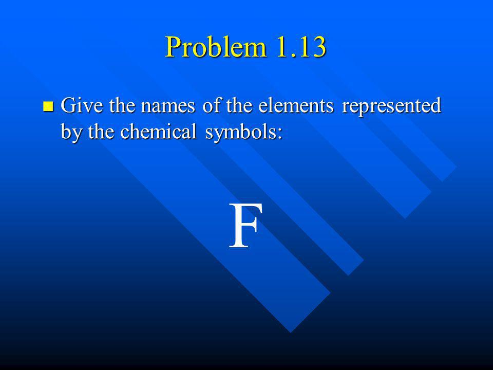 Problem 1.13 Give the names of the elements represented by the chemical symbols: F