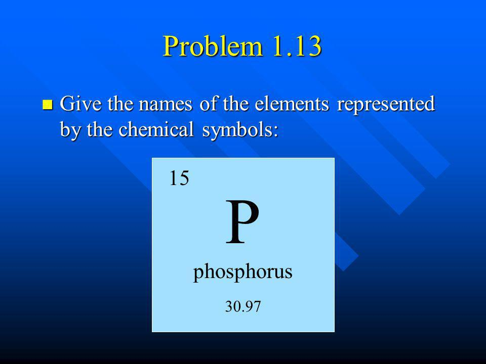 Problem 1.13 Give the names of the elements represented by the chemical symbols: 15. P. phosphorus.