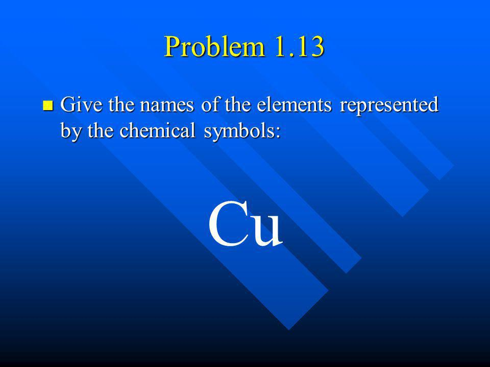 Problem 1.13 Give the names of the elements represented by the chemical symbols: Cu
