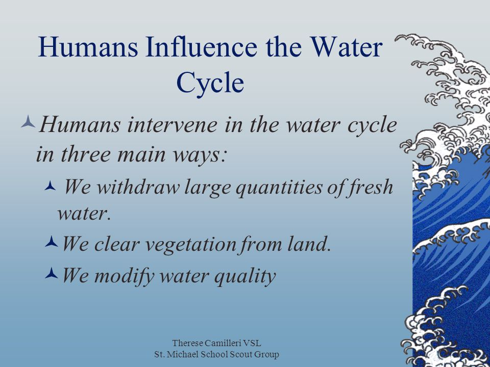 Humans Influence the Water Cycle