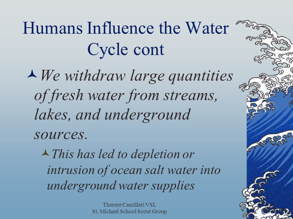 Humans Influence the Water Cycle cont