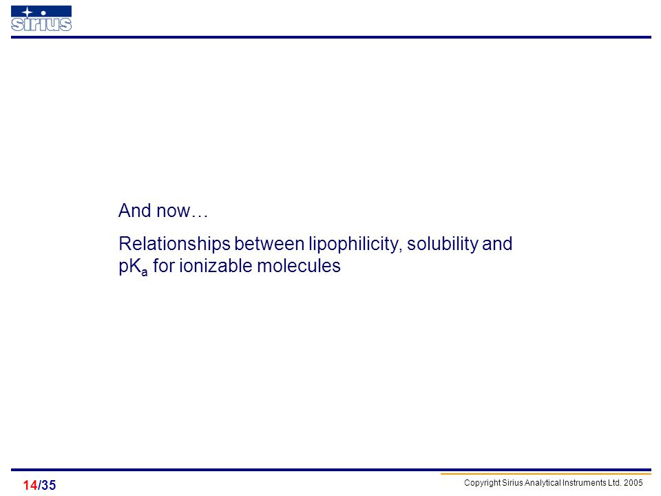 And now… Relationships between lipophilicity, solubility and pKa for ionizable molecules /35