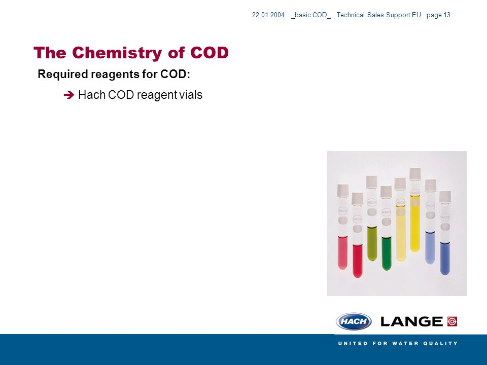 The Chemistry of COD Required reagents for COD: Hach COD reagent vials