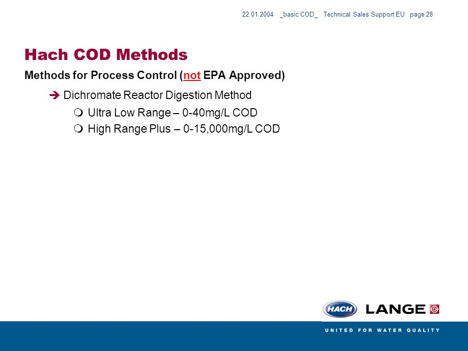 Hach COD Methods Methods for Process Control (not EPA Approved)