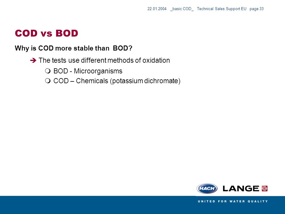 COD vs BOD Why is COD more stable than BOD
