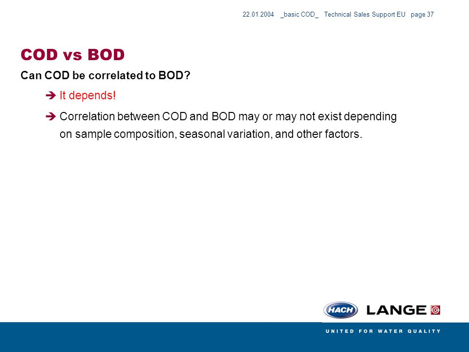 COD vs BOD Can COD be correlated to BOD It depends!