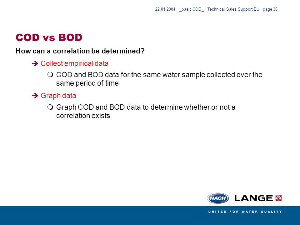 COD vs BOD How can a correlation be determined Collect empirical data