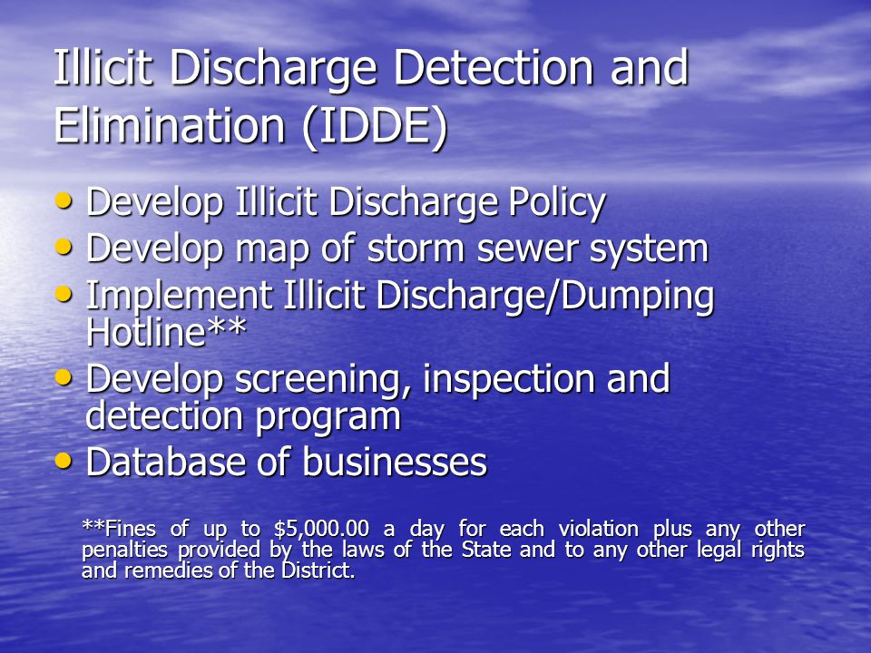 Illicit Discharge Detection and Elimination (IDDE)