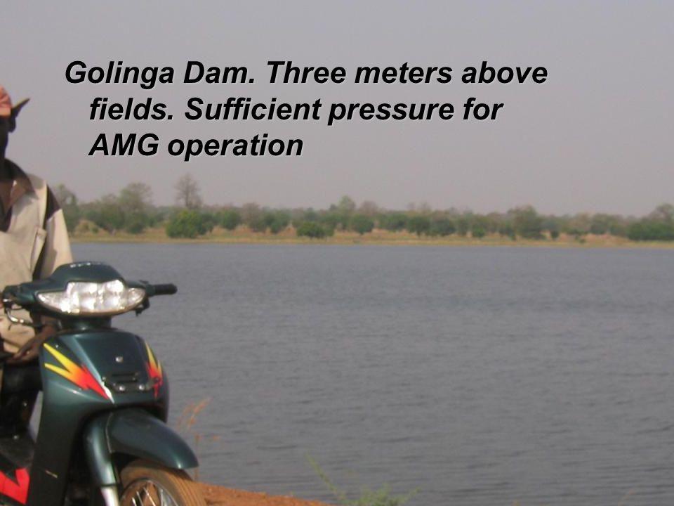 Golinga Dam. Three meters above fields