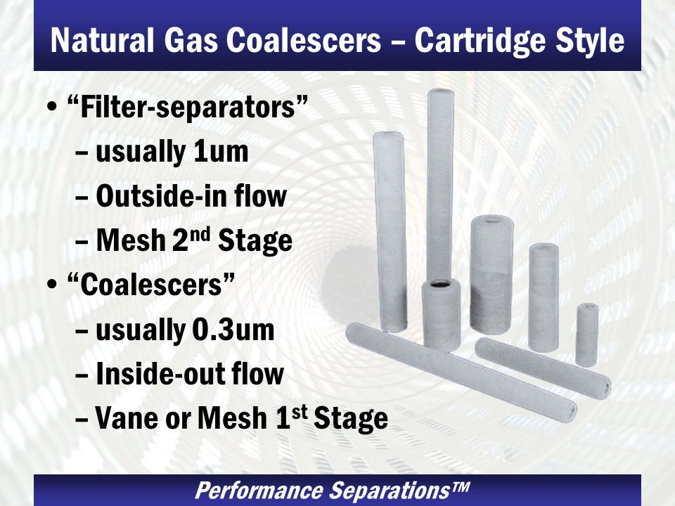Natural Gas Coalescers – Cartridge Style