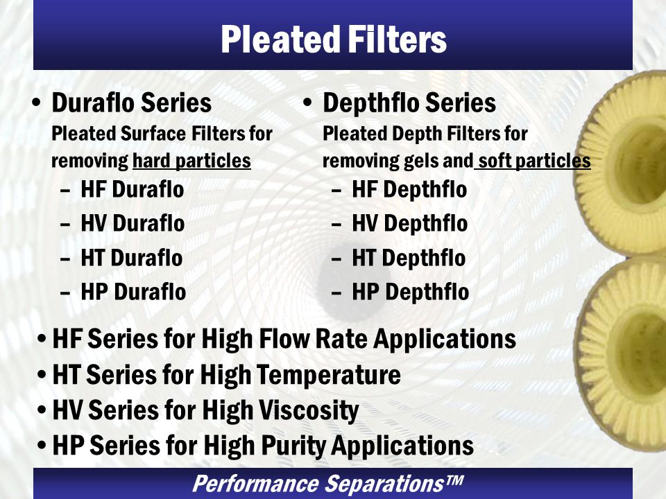 Pleated Filters Duraflo Series Pleated Surface Filters for removing hard particles. HF Duraflo. HV Duraflo.