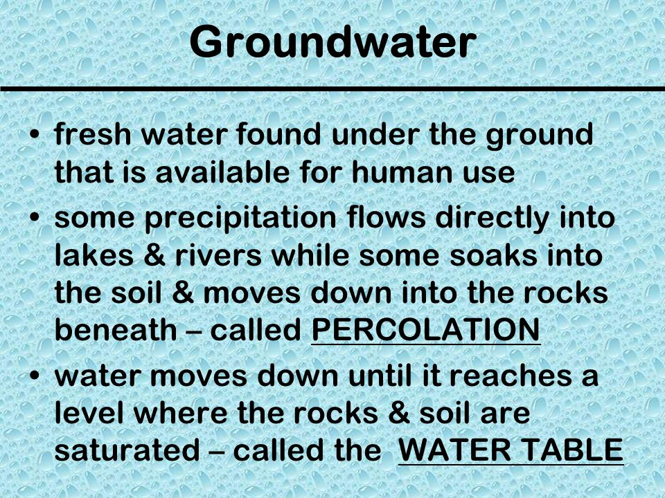 Groundwater fresh water found under the ground that is available for human use.