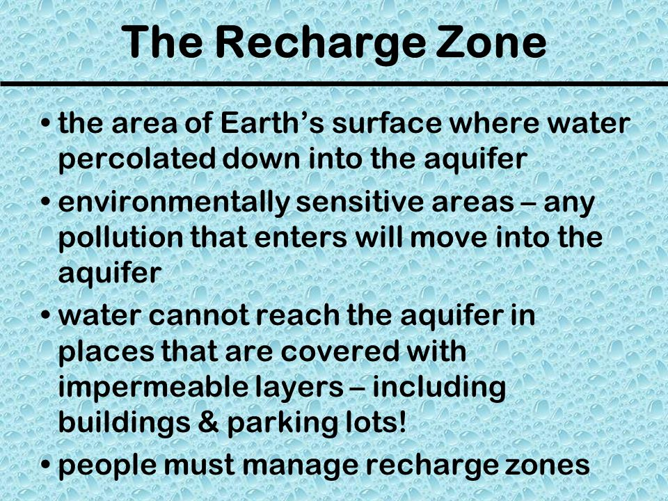 The Recharge Zone the area of Earth's surface where water percolated down into the aquifer.