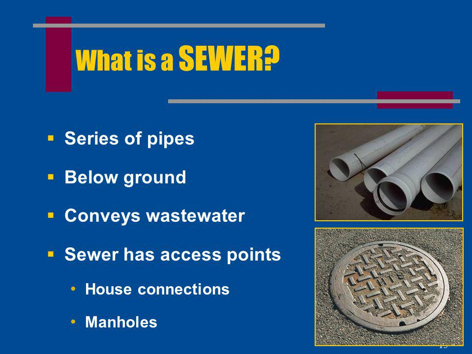 What is a SEWER Series of pipes Below ground Conveys wastewater