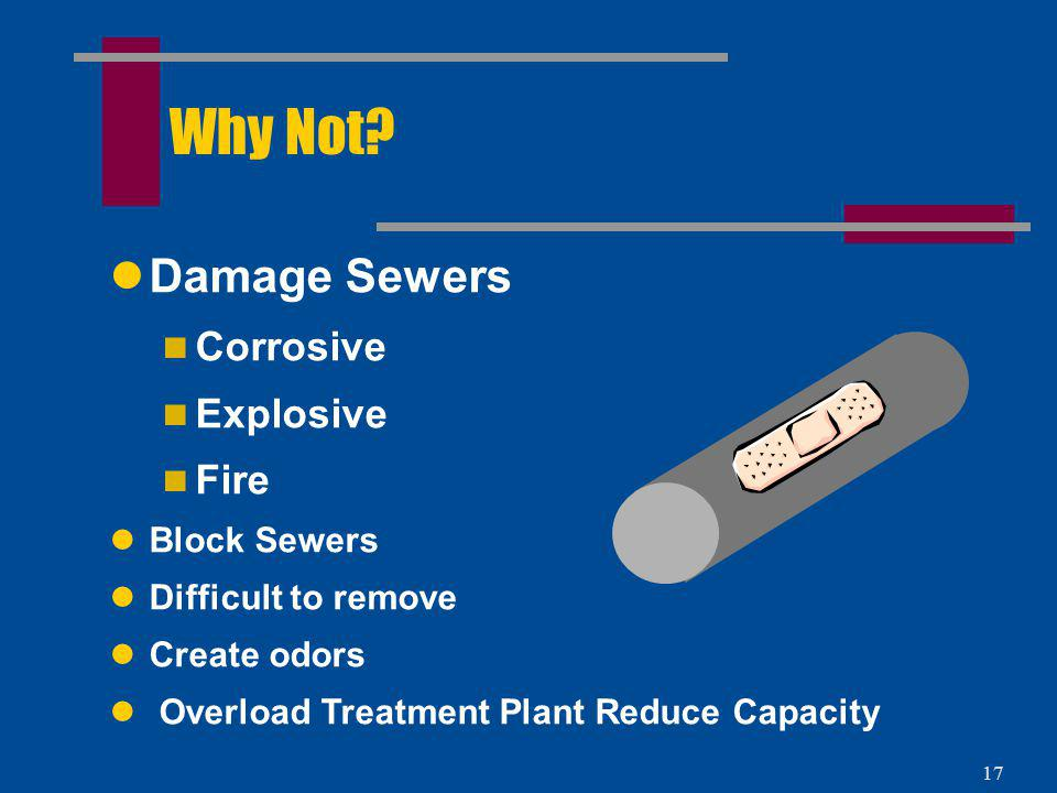 Why Not Damage Sewers Corrosive Explosive Fire Block Sewers