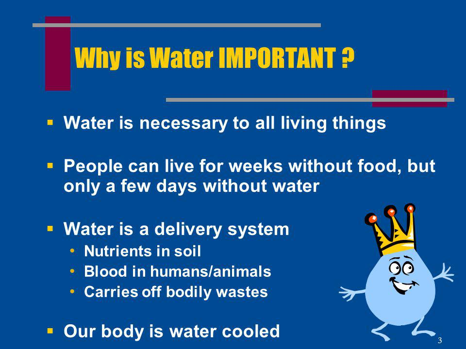 Why is Water IMPORTANT Water is necessary to all living things