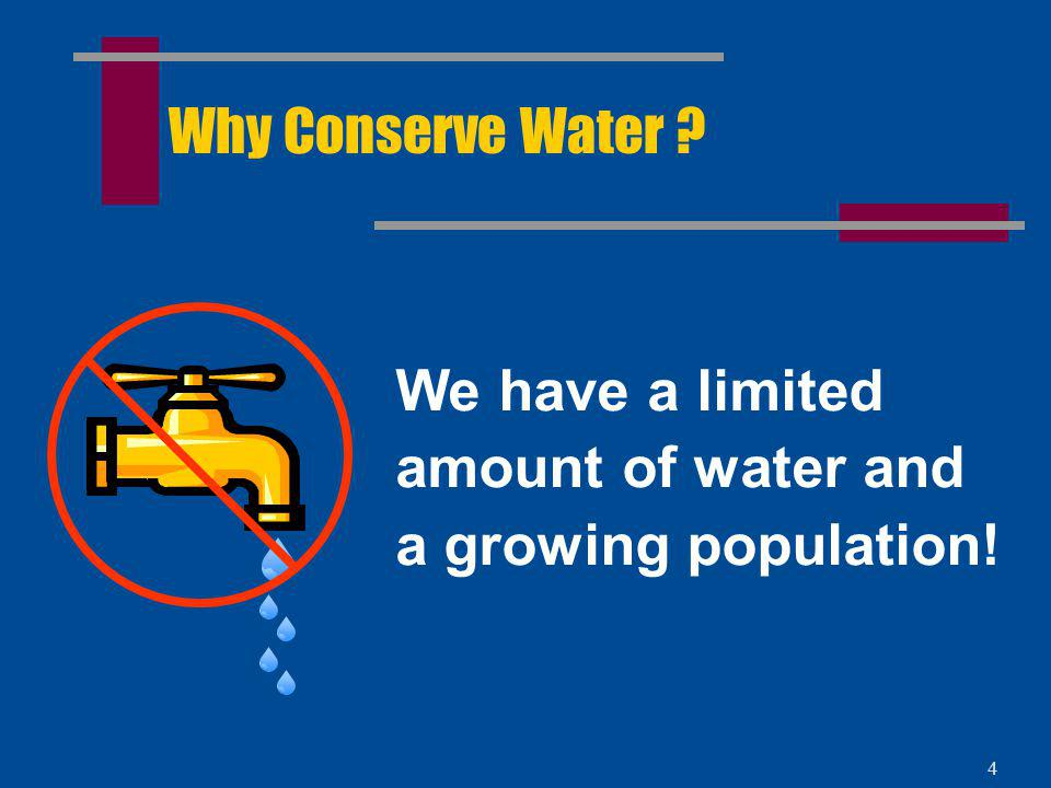 Why Conserve Water We have a limited amount of water and a growing population!
