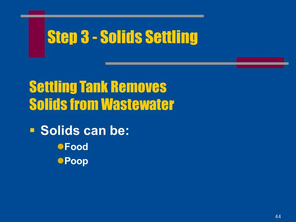 Step 3 - Solids Settling Settling Tank Removes Solids from Wastewater