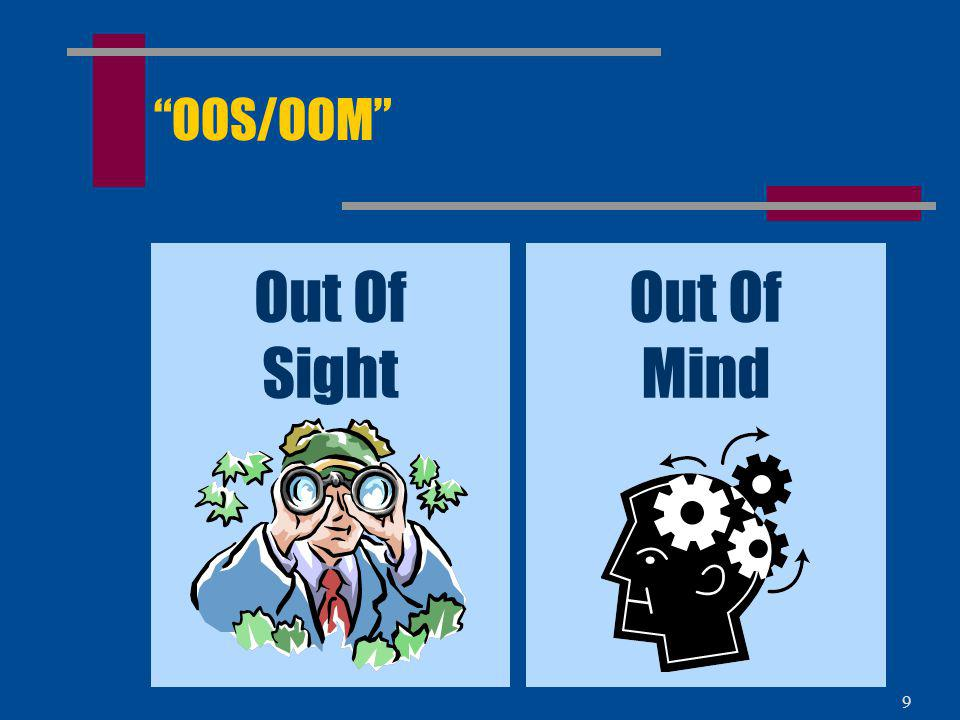 OOS/OOM Out Of Sight Out Of Mind