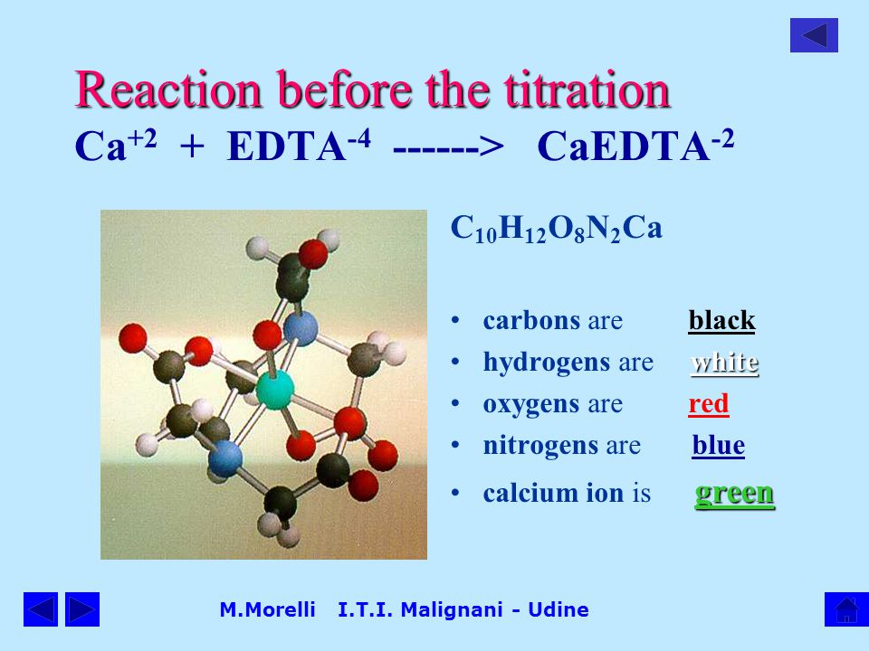 Reaction before the titration Ca+2 + EDTA-4 ------> CaEDTA-2
