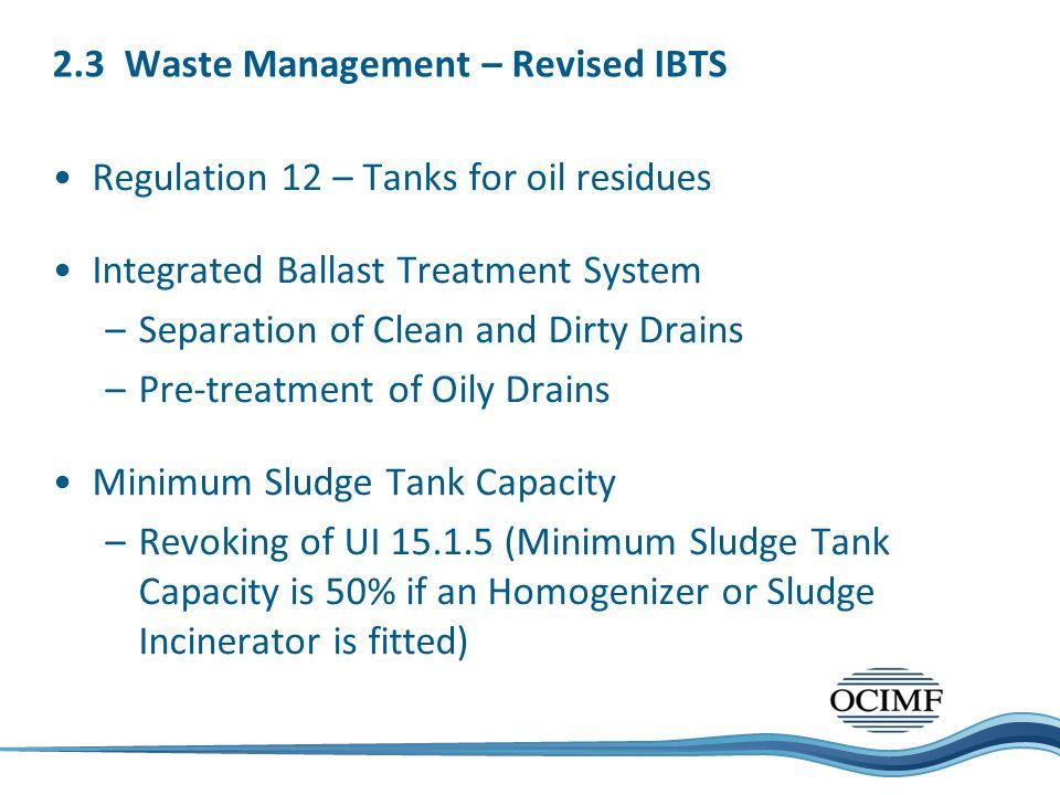 2.3 Waste Management – Revised IBTS