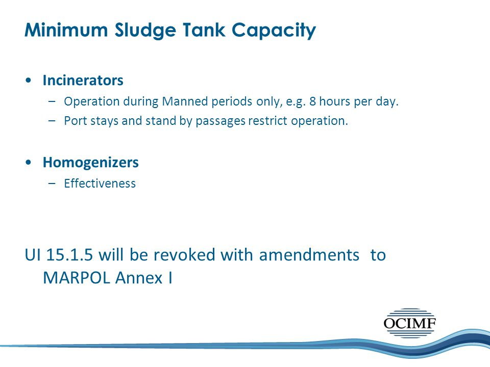 Minimum Sludge Tank Capacity