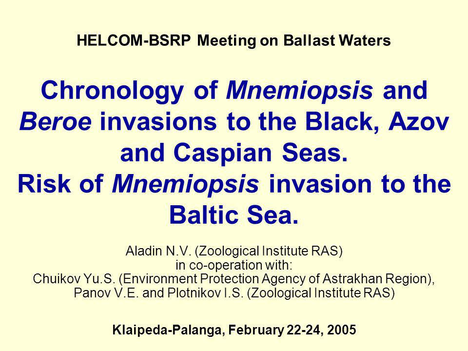 HELCOM-BSRP Meeting on Ballast Waters