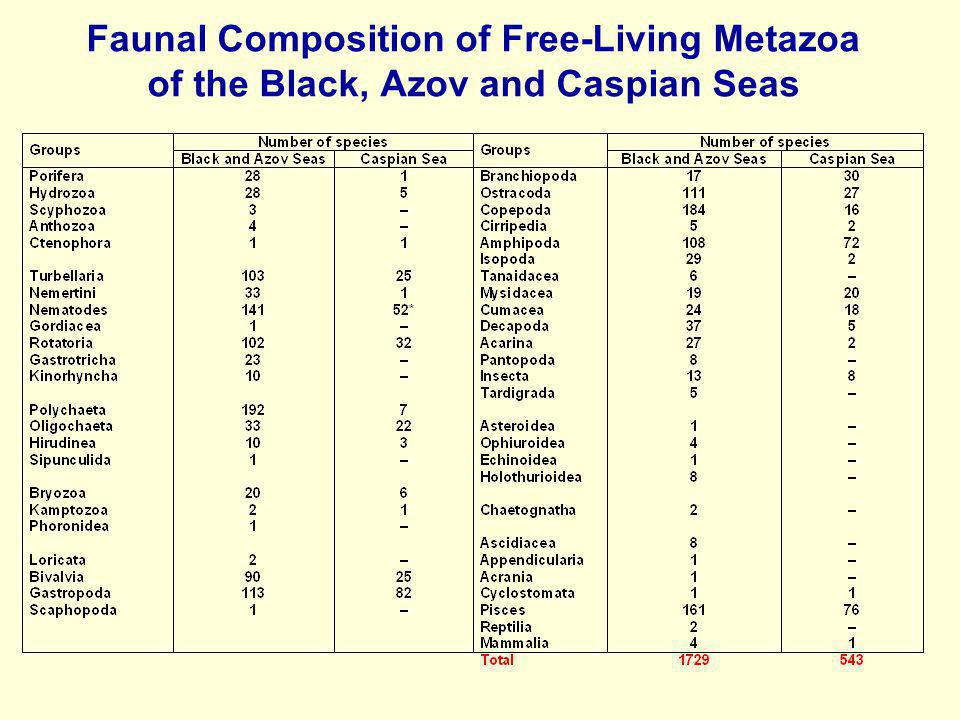 Faunal Composition of Free-Living Metazoa of the Black, Azov and Caspian Seas